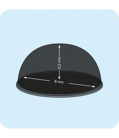 """Lipnūs silikono kalneliai """"Bumpons"""" ø - 8mm, 2,2mm storio, savilipiai, juodos sp., pusrutulio formos  (420vnt.)"""