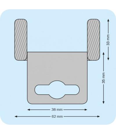 Plastikiniai lipnūs laikikliai su euro skyle 62 x 35mm, skaidrūs, rulonas 500vnt.