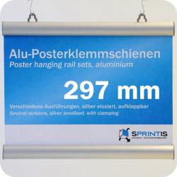 Laikiklių komplektas plakatams, 297mm, su 2 kabliukais, aliuminio rėmas (1 pora)