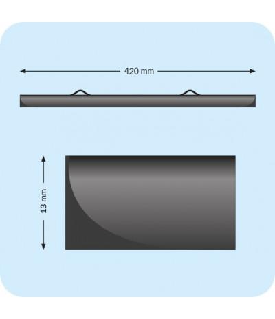 Plastikinių laikiklių komplektas plakatams, 420mm, su 2 kabliukais, juodi (1 pora)