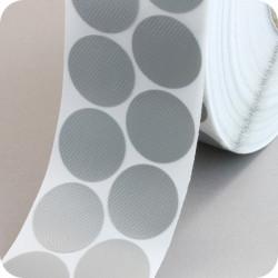 Tekstiliniai lipnūs vienpusiai apskritimai ø - 30mm, sidabro sp., 4000vnt..