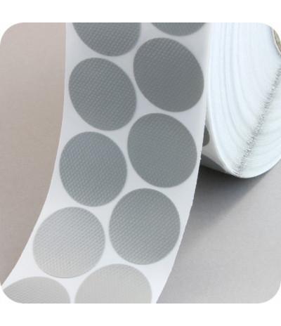 Tekstiliniai lipnūs vienpusiai apskritimai ø - 30mm, sidabro sp., 4000vnt.