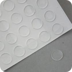 """Lipnūs silikono kalneliai """"Bumpons"""" ø - 8mm, 1,0mm storio, savilipiai, skaidrus, disko formos"""