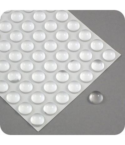 """Lipnūs silikono kalneliai """"Bumpons"""" ø - 16mm,  7,9mm storio, savilipiai, skaidrus, pusrutulio formos"""