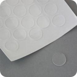 """Lipnūs silikono kalneliai """"Bumpons"""" ø - 10mm, 1mm storio, savilipiai, skaidrūs, disko formos"""
