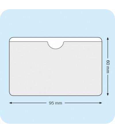 Lipnios įmautės vizitinėm kortelėm 9,5cm x 6cm su išpjova, skaidrios